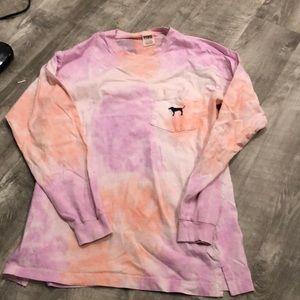 Victoria's Secret PINK tie dye long sleeve tee